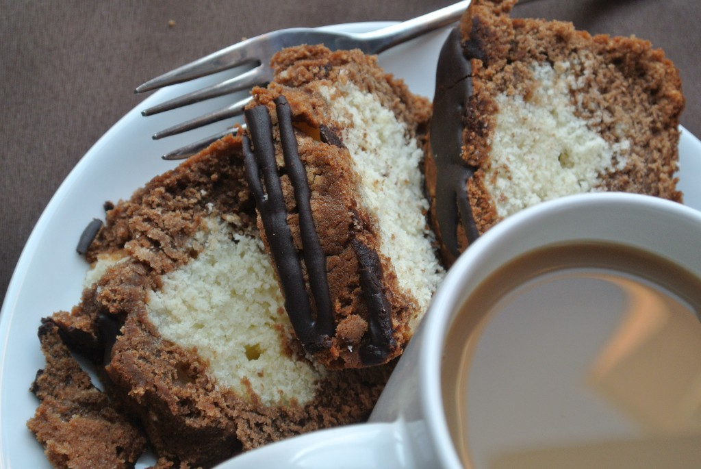 Mocha Marble Loaf Cake with Espresso Glaze ~ by My Utensil Crock