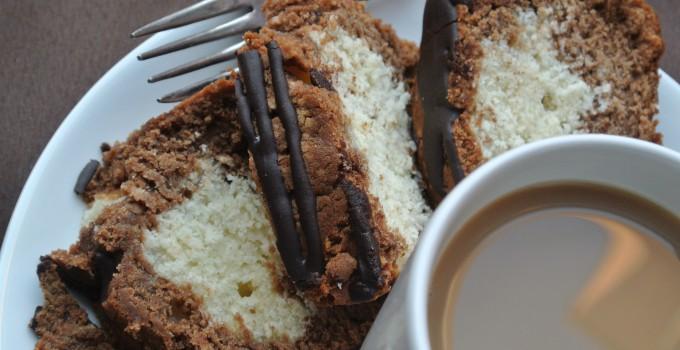 Mocha Marble Loaf Cake with Espresso Gla...