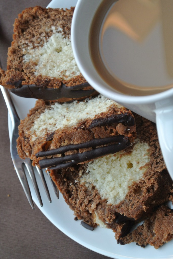 Mocha Marble Loaf Cake with Espresso Glaze by My Utensil Crock