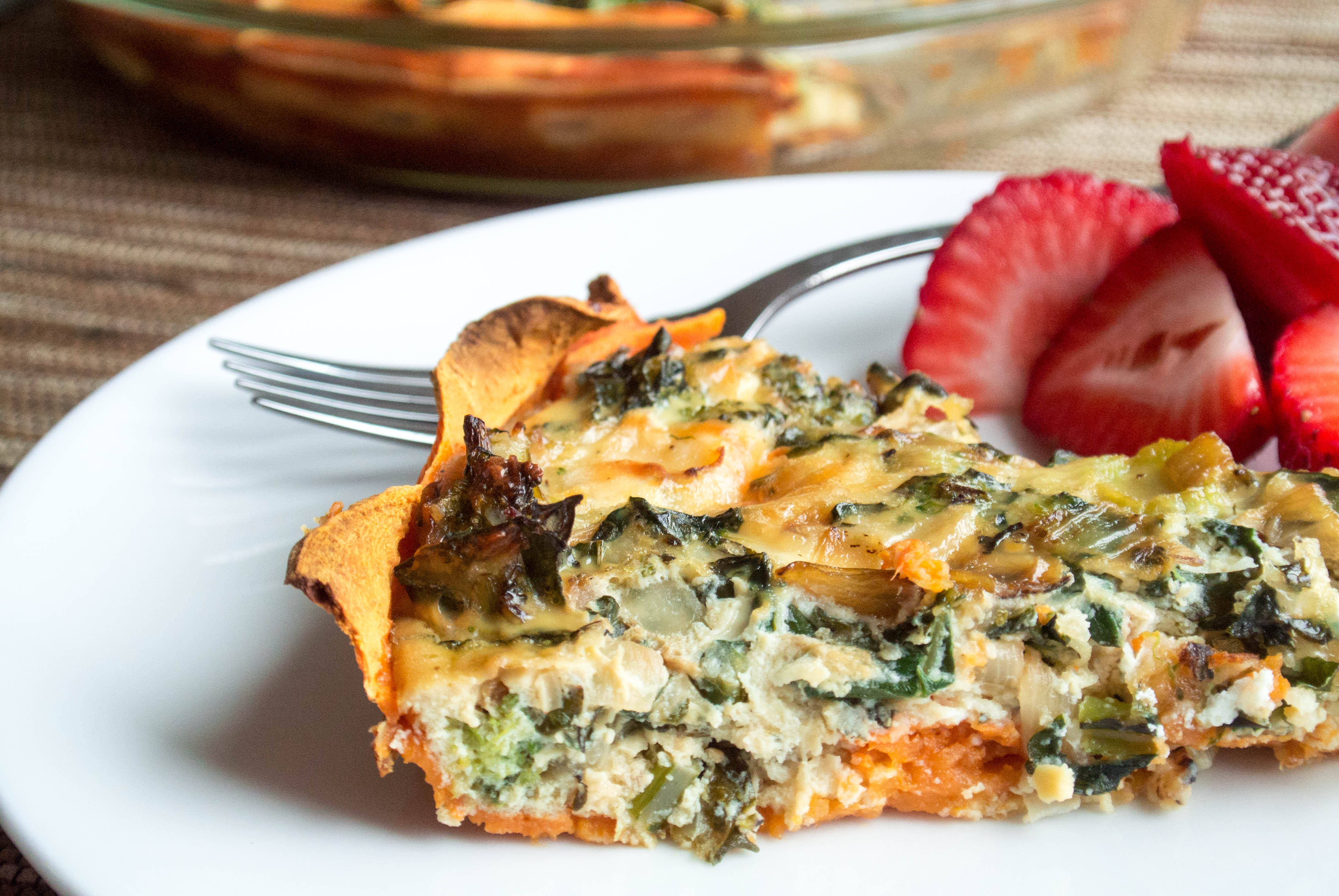 Kale Egg Quiche With Sweet Potato Crust
