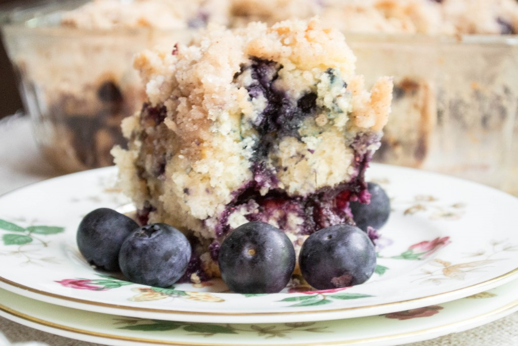 Ga's Easy Blueberry Cake by My Utensil Crock. You will love the easy batter, fresh blueberries, and thick cinnamon crumb.