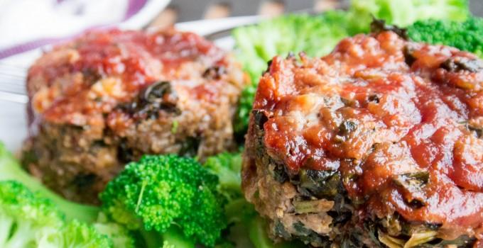 Glazed Meatloaves {Beef + Kale + Cheddar...