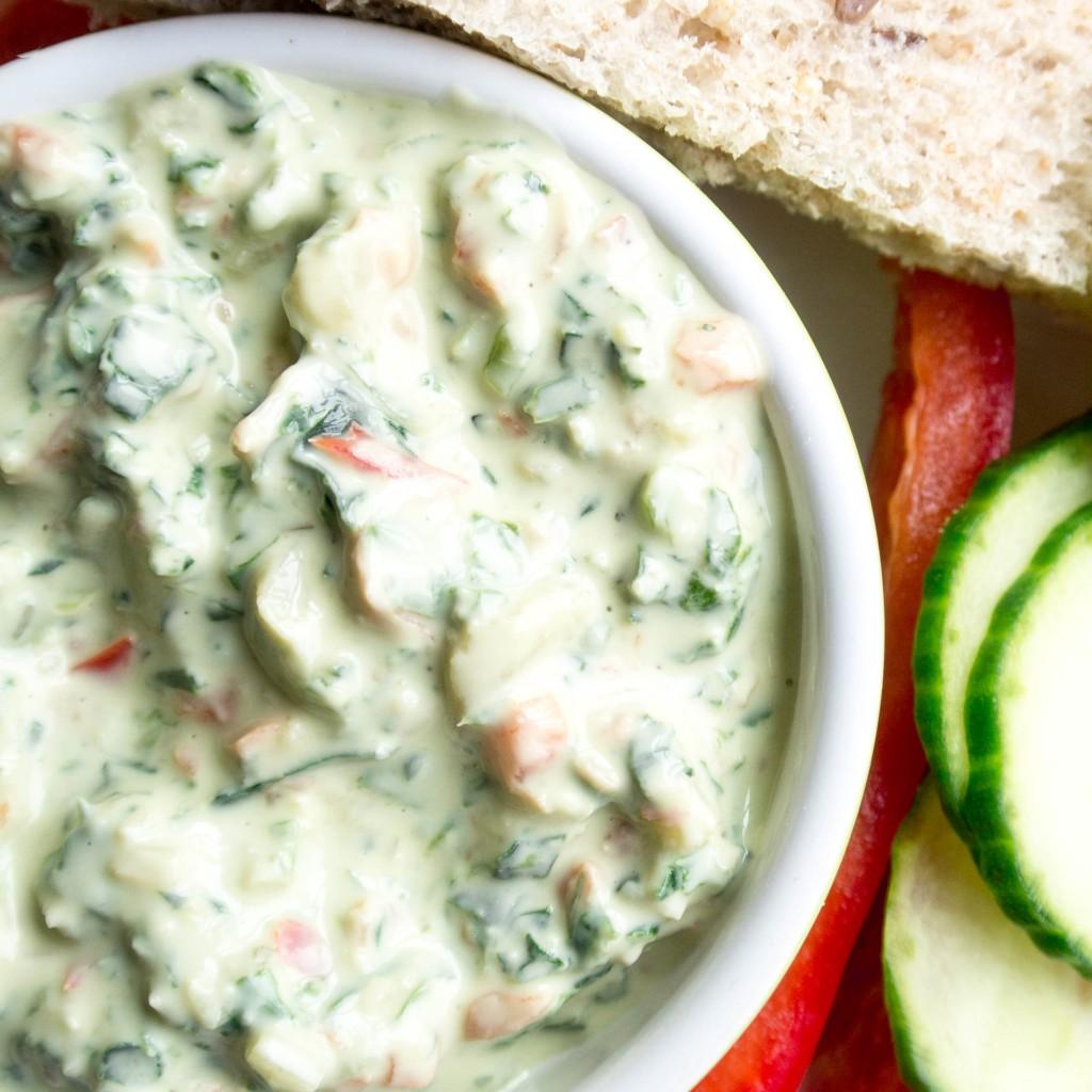 Kale and Spinach Yogurt Dip