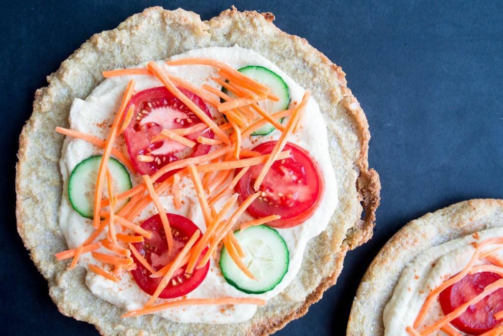 Quinoa Crust Hummus + Veggie Pizza-3