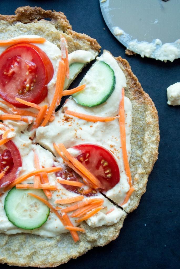 """Quinoa Crust Hummus + Veggie """"Pizza"""""""