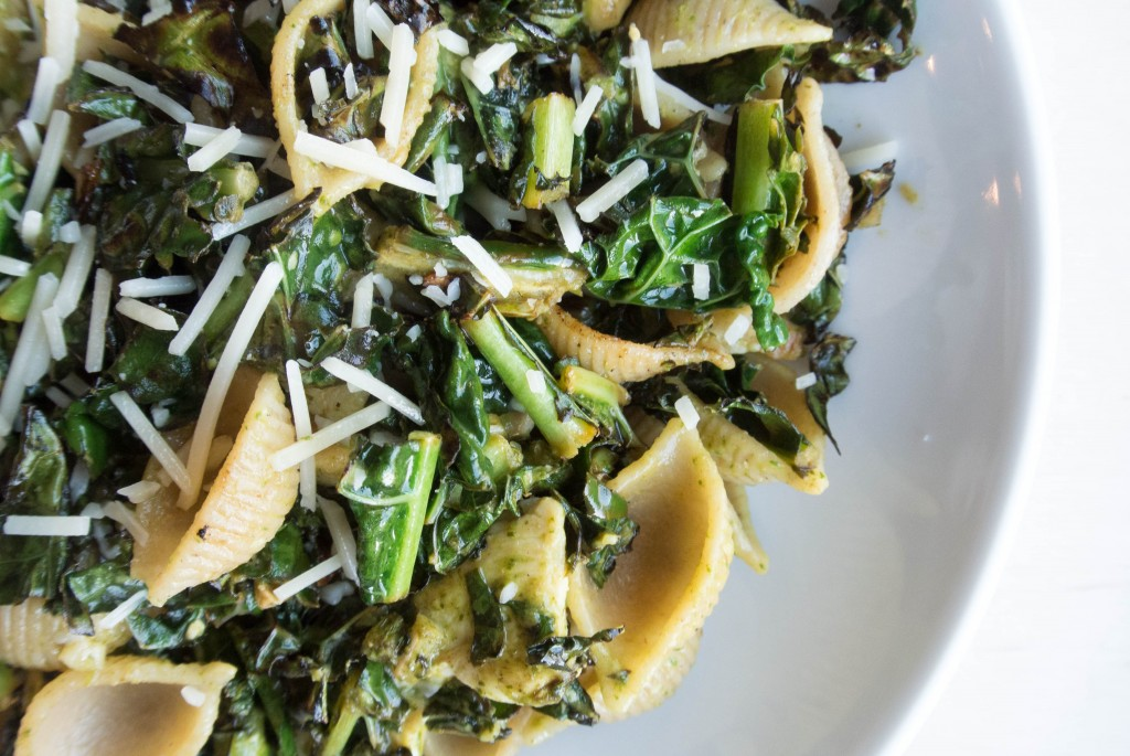 Spinach Caesar Pasta with Charred Kale