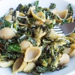 Spinach Caesar Shells with Charred Kale