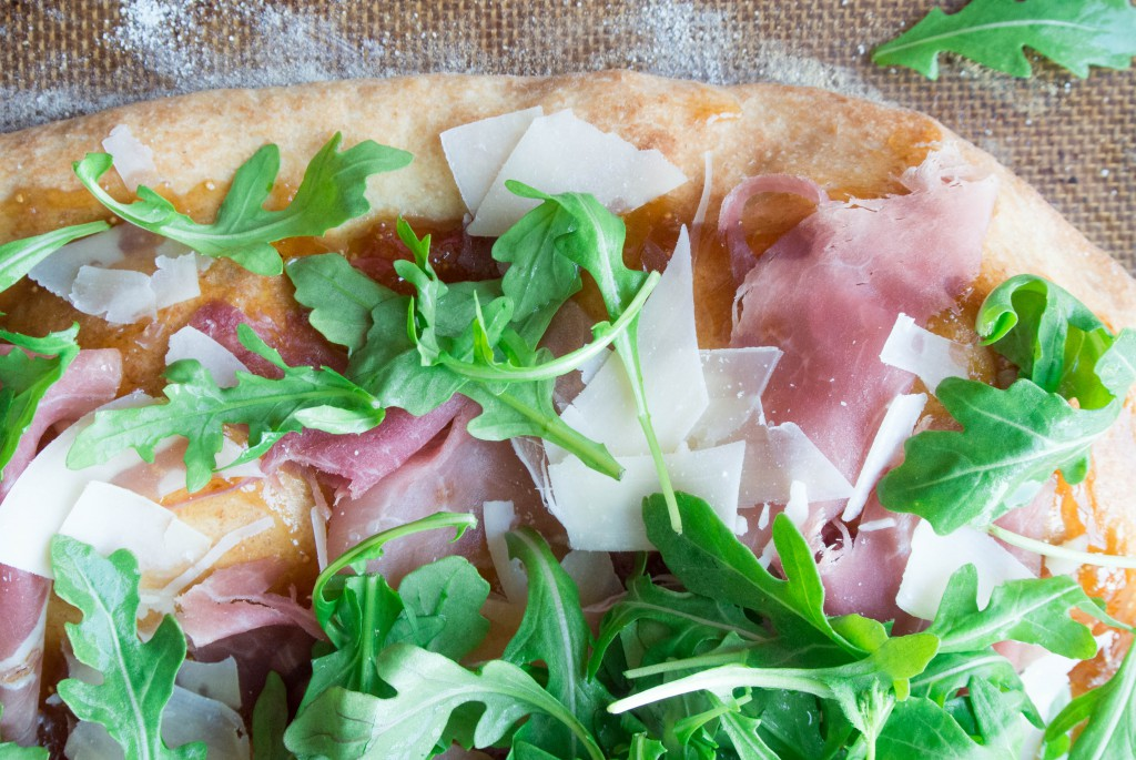 Prosciutto, Parmesan, and Arugula Flatbread with Fig Jam Spread by My Utensil Crock