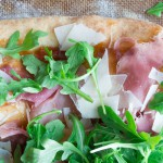 Prosciutto, Parmesan, and Arugula Flatbread with Fig Jam Spread