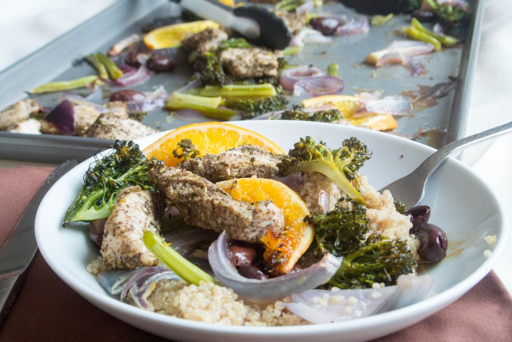 Roasting Pan Meal with Za'atar Chicken, Broccolini, and Oranges by My Utensil Crock