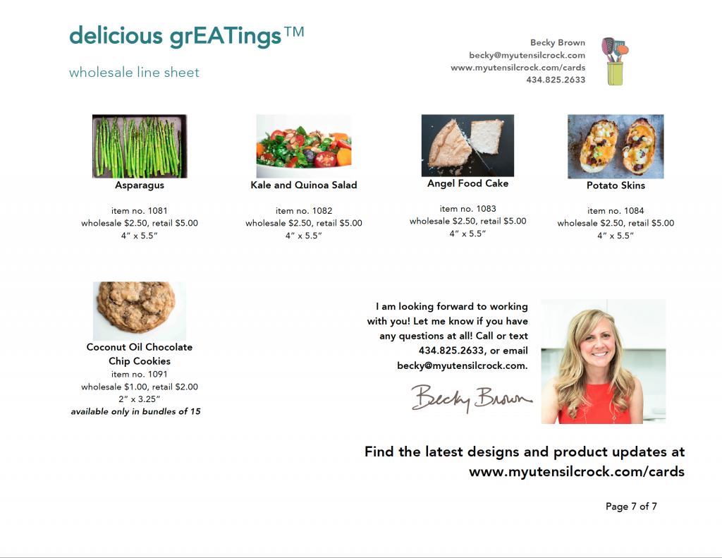 delicious grEATings™ wholesale linesheet ~ recipe cards and more