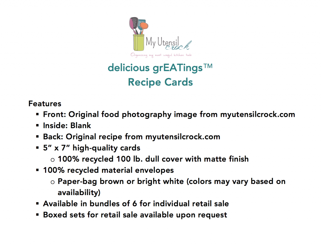 delicious grEATings ~ Recipe Cards Info