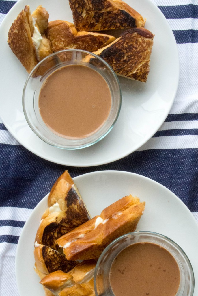 Marscapone Grilled Cheese Sandwiches with Hot Chocolate Soup ~ by My Utensil Crock