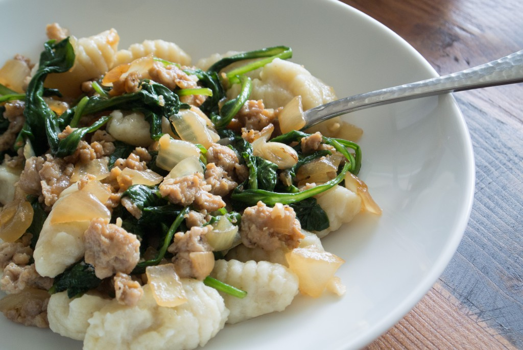 Gnocchi with Spinach and Chicken Italian Sausage ~ by My Utensil Crock