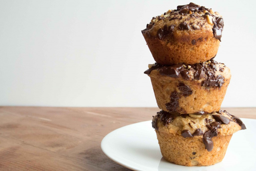 Dark Chocolate Peanut Butter Banana Bread Muffins- ~ by My Utensil Crock