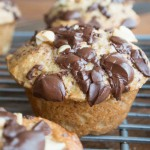 Dark Chocolate Peanut Butter Banana Bread Muffins