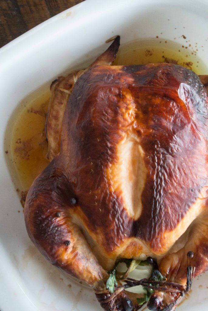 Cider Brined Roasted Chicken with Cider Glaze ~ by My Utensil Crock
