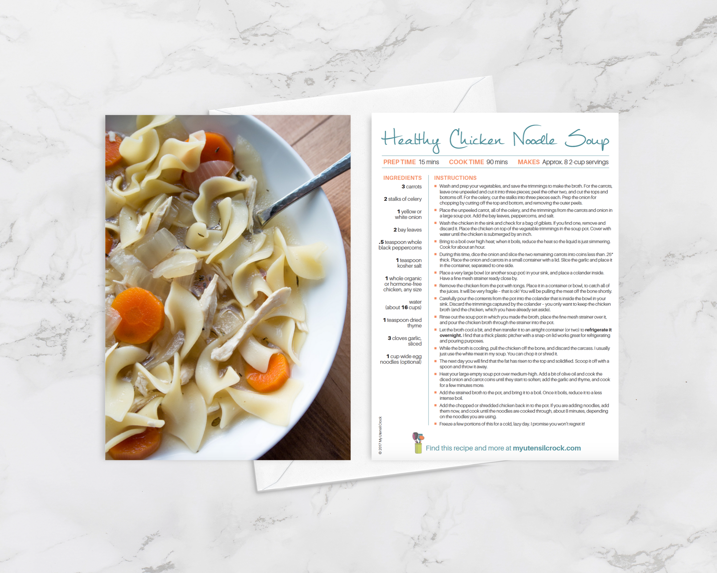 Chicken Noodle Soup ~ delicious grEATings recipe greeting card