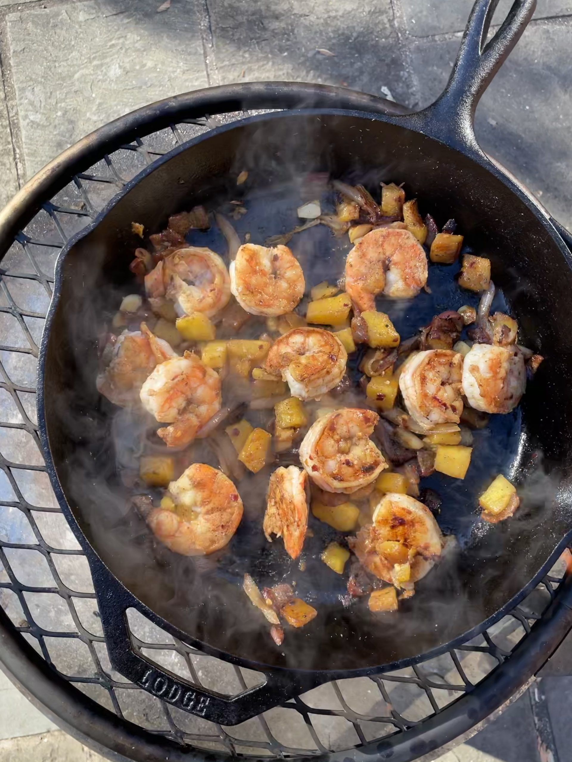 Shrimp and Pineapple in a Cast Iron Skillet