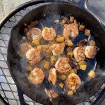 Shrimp, Pineapple, and Bacon in a Cast Iron Skillet